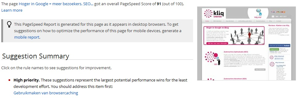 Pagespeed tool score