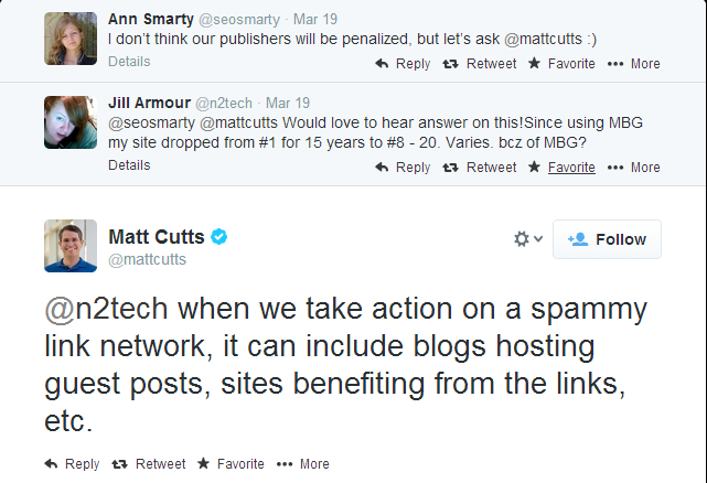 Matt Cutts over effect Google penalty